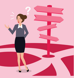 Business woman confused making decision direction vector