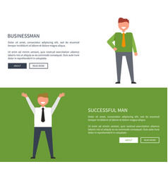 businessman and successful man set of posters vector image
