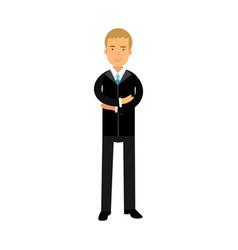 businessman cartoon character in black suit vector image