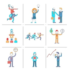 Businessman character line icons set vector