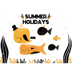 card with lettering summer holidays and underwater vector image