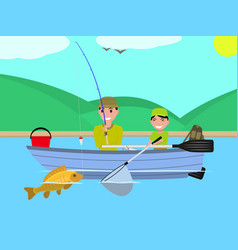Cartoon father son together fishing boat vector