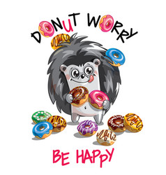 cartoon hedgehog with donuts vector image