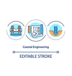 Coastal engineering concept icon vector