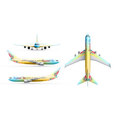 colorful airliners realistic set vector image