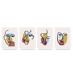 contemporary abstract faces in one line art style vector image