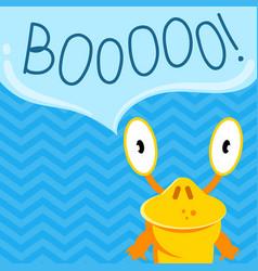 Cute cartoon screaming monster with speech vector