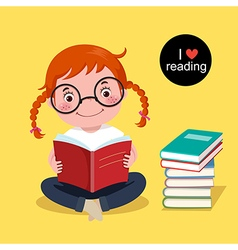 Cute girl reading a book vector