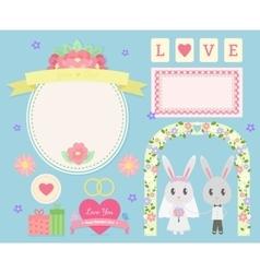 Cute wedding set vector