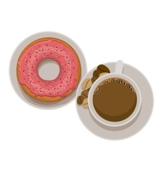 Donut and coffee cup design vector