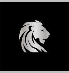 Elegant silver lion crest design concept vector