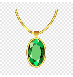 Emerald necklace icon realistic style vector