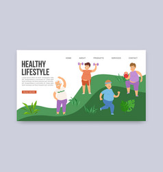 fat obese men and healthy lifestyle web vector image