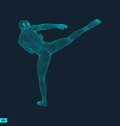 Fighter sports concept 3d model of man human body vector