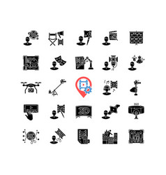 Film making process and staff black glyph icons vector