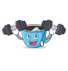 fitness tea cup character cartoon vector image