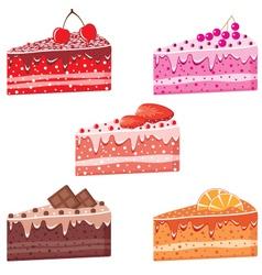Five pieces cake vector