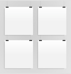 four square posters mockups four banners vector image