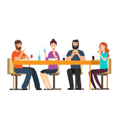 Friends eating snacks friendly people group have vector