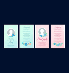 Funeral card with a place for a profile photo vector