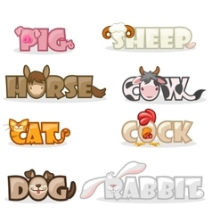 Funny cute animal text name vector