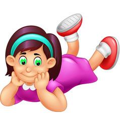 Funny girl lay down cartoon vector