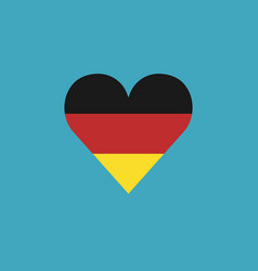Germany flag icon in a heart shape in flat design vector