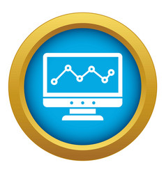 graph in computer screen icon blue isolated vector image
