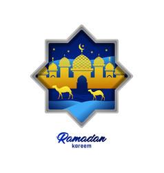 Greeting card design ramadan kareem and eid vector