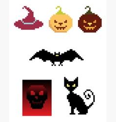 halloween pixel icons vector image