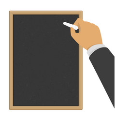 hand with chalk on chalkboard vector image