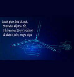 helicopter from neon lines on a blue background vector image