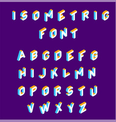 isometric font olored isometric 3d letters vector image
