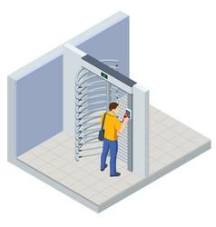 Isometric full height turnstile security system vector