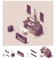 isometric home recording studio equipment vector image