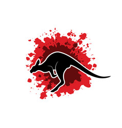 kangaroo jumping shape graphic vector image