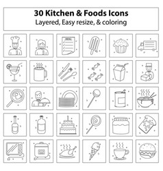 kitchen and foods icons vector image