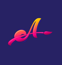 letter a with brush monogram vector image
