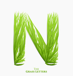 letter n of juicy grass alphabet green n vector image