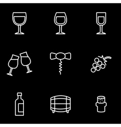 line wine icon set vector image
