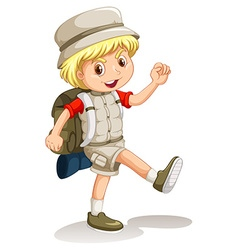 Little boy with backpack going camping vector