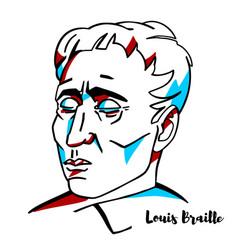 louis braille portrait vector image