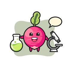 Mascot character radish as a scientist vector