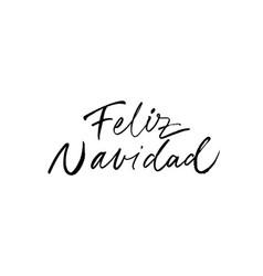 merry christmas hand drawn calligraphy in spanish vector image