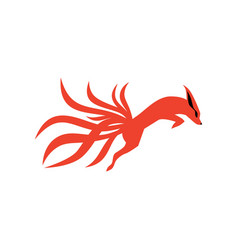 Nine tails fox logo icon vector