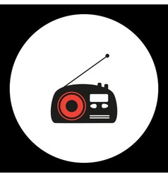 Old radio simple isolated black and red icon eps10 vector