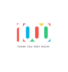 one thousand subscribers baner colorful logo vector image
