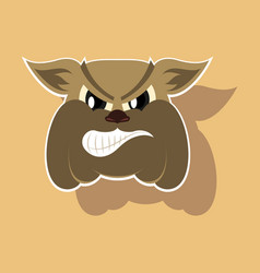 Paper sticker on theme angry bulldog animal vector