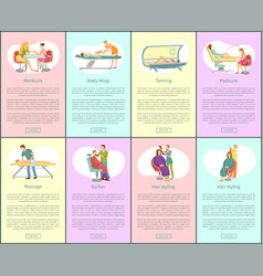Pedicure and manicure tanning posters set vector