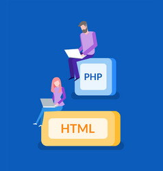 Php and html programmer work it technologies vector